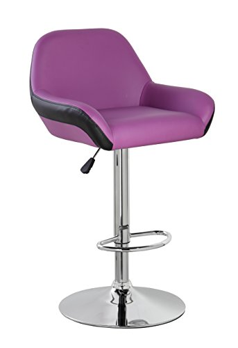 KERLAND PU Leather Modern Design Swivel Adjustable Seat Height Home Kitchen Bar Stool Chair With Padded Back And Chrome Footrest,Purple - Modern High Back Bar Stool