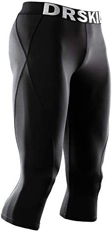 DRSKIN 1~3 Pack Men's 3/4 Compression Tight Pants Base Under Layer Running Shorts Cool Dry (Packs of 1, 2, or 3 Deals)