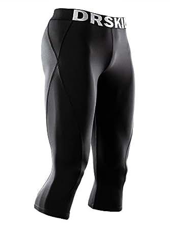 DRSKIN] Tight 3/4 Compression Pants Base Layer Running Pants Men (S, BB807)