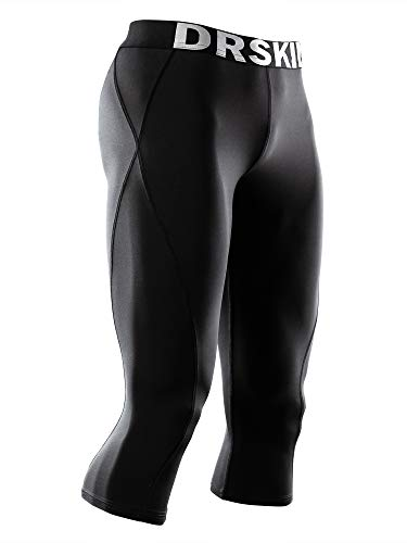 DRSKIN] Tight 3/4 Compression Pants Base Layer Running Pants Men (L, ()