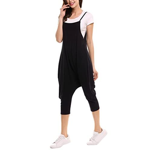 378c0f4eb8c Zeagoo Women s Spaghetti Strap Harem Jumpsuit One Piece Backless Mid-Calf  Loose Playsuit Romper