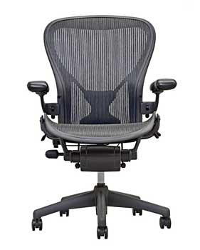 Herman Miller Executive Chair (Herman Miller Classic Aeron Task Chair: Highly Adj w/PostureFit Support - Tilit Limiter w/Seat Angle Adj - Fully Adj Vinyl Arms - Carpet Casters)