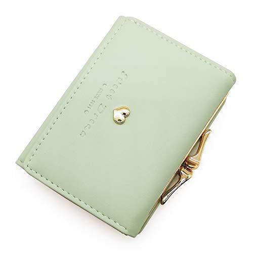 Women's Mini Metal Frame Kiss-Lock Wallet Leather Card Holder Purse Clutchv (Light Green) ()