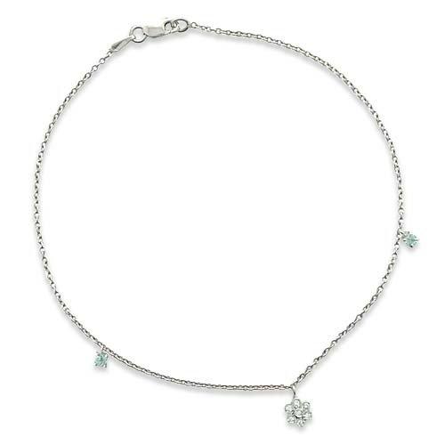 Superstar Chaîne de Cheville Femme en Or 18 carats Blanc avec Diamant H/SI (total diamants 0.06 ct) et Aigue-marine, Cm 23, 2.8 Grammes