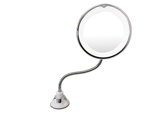 UBEQEÔ 7X or 10X Magnifying Makeup Mirror With Light | Adjustable Gooseneck Suction Cup | The Bathroom Vanity with Lights has a Bright LEDs perfect for Wall Mounted (10X Magnification) by UBEQEÔ (Image #2)