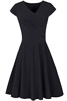 AUSELILY Women's V Neck Cap Sleeve Casual A Line Flared Elegant Dress