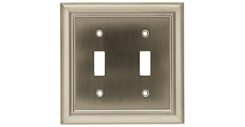 Architectural Plate (BRAINERD 64208 Architectural Double Toggle Switch Wall Plate/Switch Plate/Cover satin nickel)