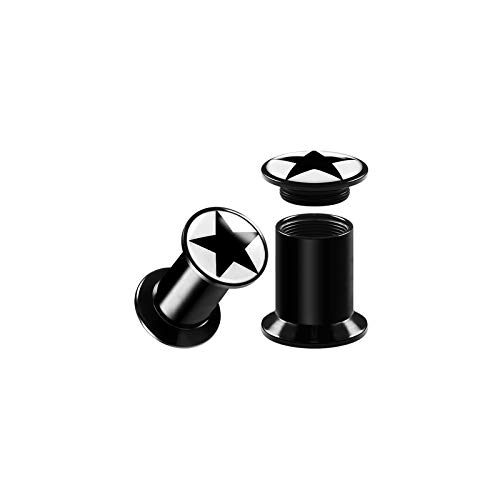 (BIG GAUGES Pair of Internally Threaded Black Acrylic 4g Gauge 5mm Double Flared Black Star Piercing Jewelry Ear Plugs Stretcher BG7521)