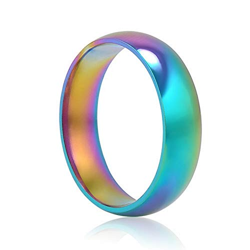 Rhame Rainbow Colorful Titanium Steel Rings Men/Womens Engagement Bridal Wedding Band | Model RNG - 20477 | 9