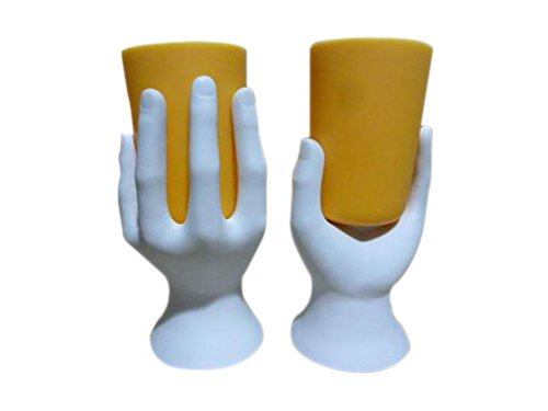 Hand Cup Pen/Pencil Holder (White/Yellow) by Arad