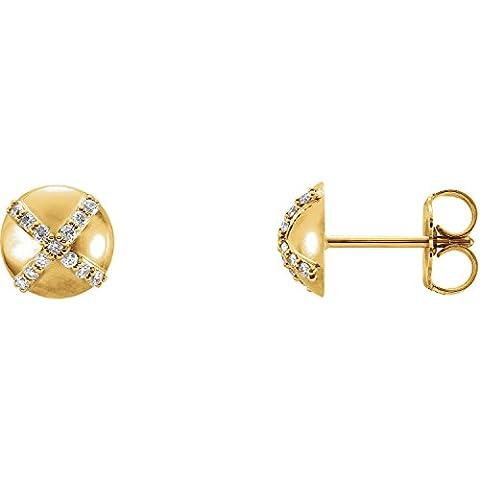 14K Yellow Gold 1/8 CTW Diamond Earrings