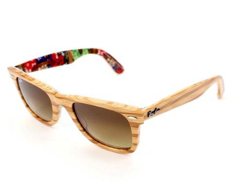 72cd171aba Ray Ban RB2140 Wayfarer Sunglasses-1138 85 Wood Text Surf (Brown Grad  Lens)-50mm (B00BZQUZ8K)
