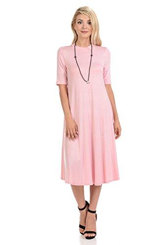 - iconic luxe Women's Mock Neck Trapeze Midi Dress Large Pink