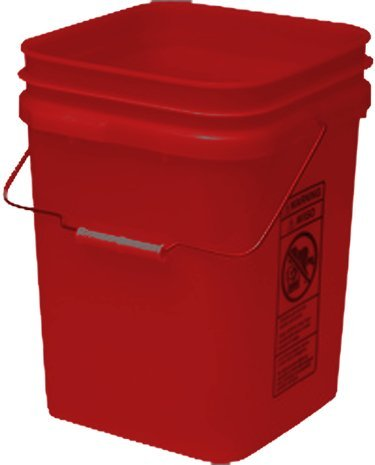 Red Economy Square 4 Gallon Plastic Bucket, 18 Pack
