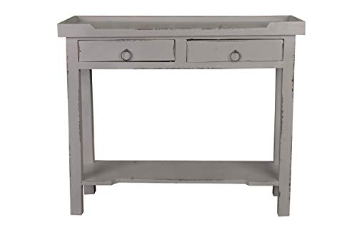 (Sunset Trading CC-TAB2284LD-AG Shabby Chic Cottage Table Two Drawer Antique Gray)