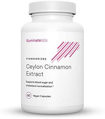 Illuminate Labs Ceylon Cinnamon Extract Capsules 1000 mg Supports Healthy Blood Glucose Cholesterol Levels Third-Party Tested to Meet European Union Dietary Supplement Standards