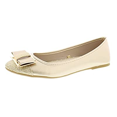 Gold Toe Women's Ursula Shiny Metallic Studded Bow Slip On Ballet Flat Round Toe Dress Flat Pump Shoes