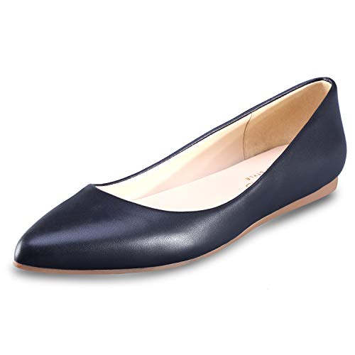 - Women's Flat Shoes Classic Leather Casual Pointed Toe Slip On Shoes Ballet Flats Black(M) 11