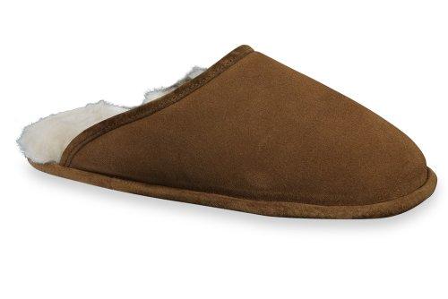 Dreams4Home Hausschuhe Trendy, Lammfell, in verschiedenen Größen und Farben, Farbe:dunkelbraun;Schuhgrößen:44/45