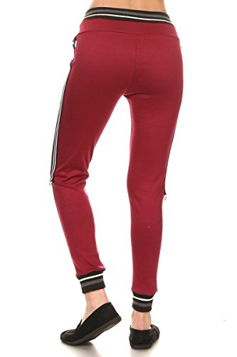 Leggings-Depot-Womens-Team-3-Stripes-Activewear-Jogger-Comfortable-Cuff-Sweatpants-Inner-Pockets