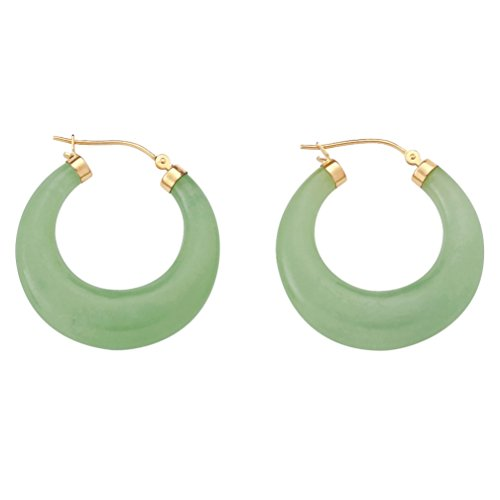 14K Yellow Gold Hoop Earrings (31mm) Round Genuine Green Jade
