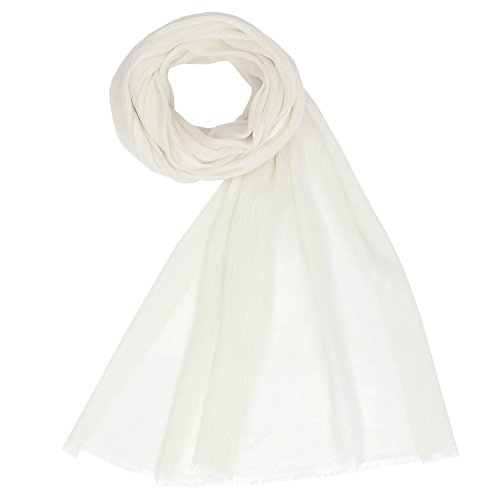 KASHFAB Kashmir Womens Mens Winter Fashion Solid Scarf, Cashmere Wool Silk Stole, Soft Long Shawl, Warm Pashmina Off White (Wool White Scarf)