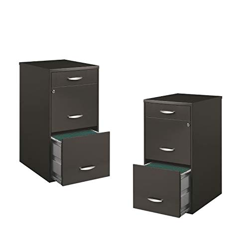 Value Pack (Set of 2) 3 Drawer File Cabinet in Charcoal by Home Square