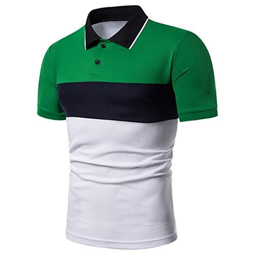 Men's Fashion Business Polo Shirt,MmNote Active Performance Sports Short Sleeve Textured Design Classic Fit Modern Fit Green