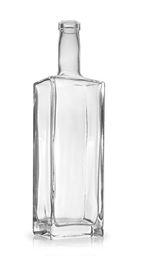 North Mountain Supply Liberty 750ml Rectangular Glass Wine/Spirits Bottle Bar Top Finish - Case of 4 by North Mountain Supply (Image #1)