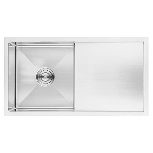 BAI 1231 Handmade 33-inch Undermount Single Bowl with Drainboard 16 Gauge Stainless Steel Kitchen Sink