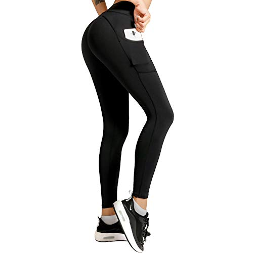 Meetjoy High Waisted Yoga Pants with Pockets for Women - Tummy Control Workout Leggings Black