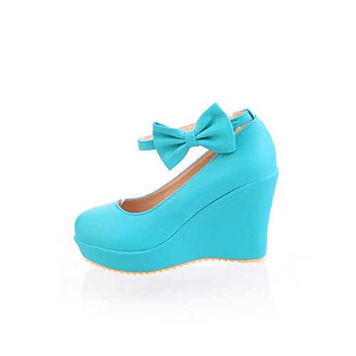 Material Round Toe Women's Shoes Blue 36 Heels High Pumps Buckle Closed Soft WeiPoot RqXOEwxw