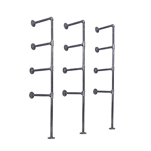 4-Shelf Rustic Floating Shelves Wall Mounted Ceiling Hanging Bracket 56 Inch Industrial Pipe Shelving 3pcs