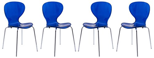 LeisureMod Carson Mid-Century Dining Side Chairs, Set of 4 (Transparent Blue) (Lucite Blue Chairs)