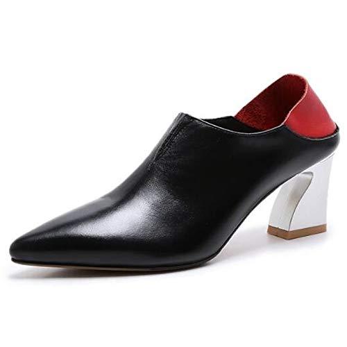 Novedad Mujer Almendra Zapatos Black Primavera Toe Cuero De Heterotypic QOIQNLSN De Nappa Talones Talón Verano Negro Cerrado FqnC8pW