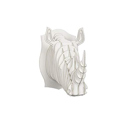 Cardboard Safari Mailable Nano Animal Heads (Rhino, White) ()