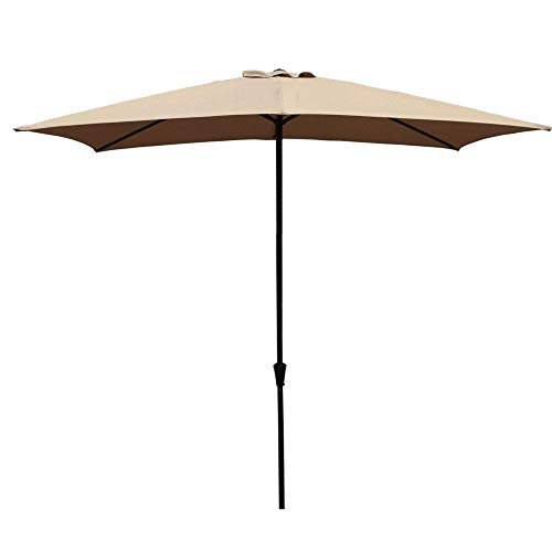 COBANA Rectangular Patio Umbrella, Outdoor Table Market Umbrella with Push Button Tilt/Crank, 6.6' by9.8', Beige ()
