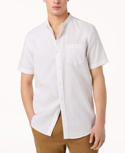 American Rag Mens Banded Collar Button Up Woven Shirt White 2XL