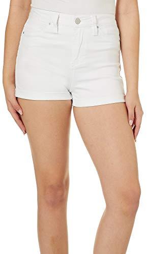(YMI Juniors No Muffin Top Roll Cuff Denim Shorts 5 White)