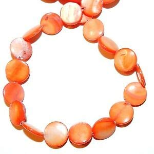 Steven_store MP1915 Bright Orange 12mm Flat Puffed Round Mother of Pearl Shell Beads 15