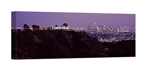 Easy Art Prints Panoramic Images's 'Aerial View of a Cityscape, Griffith Park Observatory, Los Angeles, California' Canvas Art 36 x ()