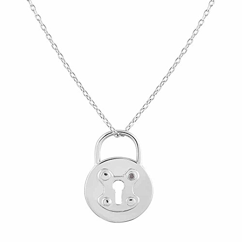 Sterling Silver Rhodium Plated Diamond Accent Round Lock Pendant Necklace, 18""