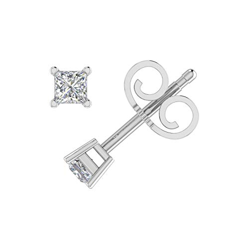 1/4 Carat Princess Cut Diamond Stud Earrings in 14K White Gold - IGI Certified