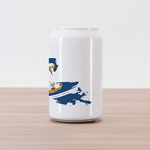 Lunarable Louisiana Cola Can Shape Piggy Bank, Pelican State Flag Map Union Justice Confidence, Ceramic Cola Shaped Coin Box Money Bank for Cash Saving, Cobalt Blue White Pale Coffee Earth Yellow