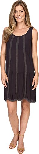 Allen Allen Women's Seamed Tank Dress w/Lace Trim Jet Grey Dress SM (Women's 4-6) - Allen Allen Womens Clothing