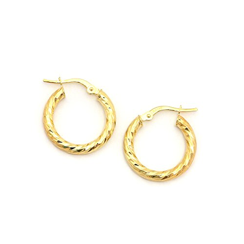 14k Yellow Gold 3mm Small Twisted Hammered Hoop Earrings, 0.8