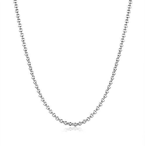 Lxnshop 18k Rose, White or Yellow Gold Plated 1.5mm Link Chain Necklace 18 inch (white-gold-plated)