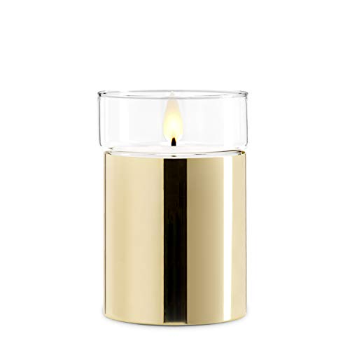 (Gold Flameless Candle with Realistic Flame - Poured Wax, Removable Glass Top, Warm White LED, Timer, Remote Ready, Batteries Included)