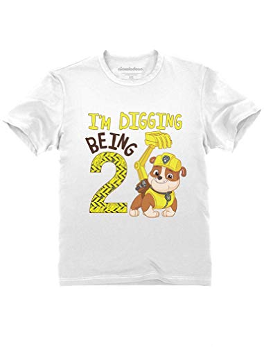 Paw Patrol Rubble Digging 2nd Birthday Official Nickelodeon Toddler Kids T-Shirt 3T White