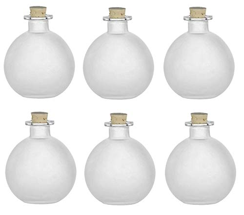 Nakpunar 6 pcs Spherical Glass Bottles with Cork Bottle Stopper (6, 8.5 oz Frosted)